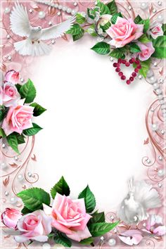 Wedding frame for the newly-married couple - Rings gold are put on Frame Border Design, Page Borders Design, Photo Frame Design, Framed Wallpaper, Flower Wallpaper, Rose Frame, Flower Frame, Picture Borders, Boarders And Frames