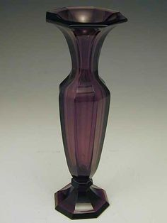 Moser Purple Vase in the Style of Wiener Werkstatte, Moser of Karlsbad, Austria, c. 1910