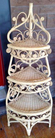 Greystone Fine Furniture - Vintage rattan corner shelf whatnot $75