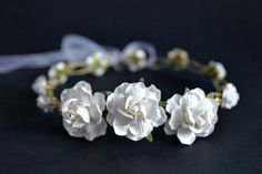 White and Gold flower crown  White wedding by LuckyKidsHandmade