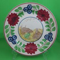 Antique Staffordshire Stick-Spatter, Rabbit & Frog Plate, #2