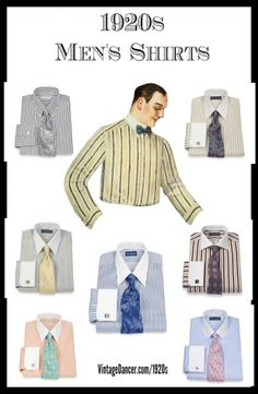 1920s Men's Dress Shirt Colors. Shop these and more at VintageDancer.com