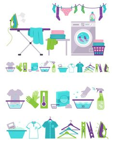 Washing and Laundry Icons. Clothes Icons. $10.00