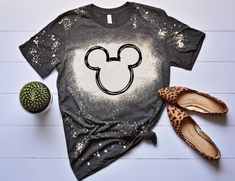 Excited to share this item from my #etsy shop: Bleached shirts, Disney shirts, Disney shirts for women, Minimal mickey, Disney Family shirts, Disney World shirts, bleached shirt, Disney