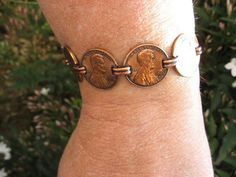 Copper penny bracelet for katie's pennies from heaven collection so papa mike will always be with her. Penny Bracelet, Copper Bracelet, Copper Jewelry, Leather Jewelry, Penny Jewelry, Coin Jewelry, Jewelry Rings, Handmade Copper, Handmade Jewelry