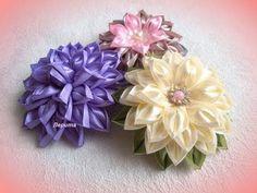 """Воздушные цветы канзаши из ленты 2,5 см, мастер класс, лепесток """"воздушный"""" - YouTube"""
