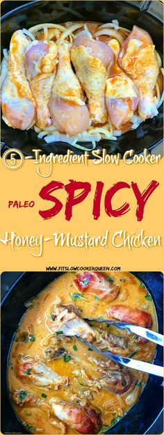 Spicy honey mustard? All my favorites in one. There are only 5 ingredients in this easy, healthy, and paleo slow cooker recipe.