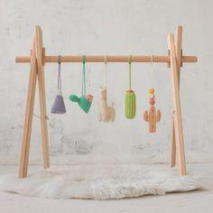 Cacti llama baby play gym - Infant activity center - Wooden baby gym with toys - Boho Desert - Crochet rattles - Montessori - Bébé - Travel Nursery, Chic Nursery, Play Gym, All Toys, Activity Centers, Baby Play, Infant Activities, Nursery Themes, Etsy