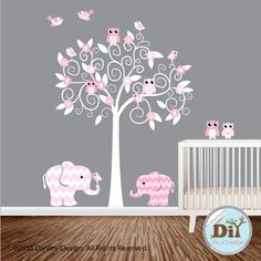 Pink and White Vinyl Wall Decal Elephants Owls par DiyVinylDesign Nursery Themes, Nursery Wall Art, Girl Nursery, Girl Room, Girls Bedroom, Baby Room, Nursery Decor, Zoo Nursery, Wall Stickers Vector