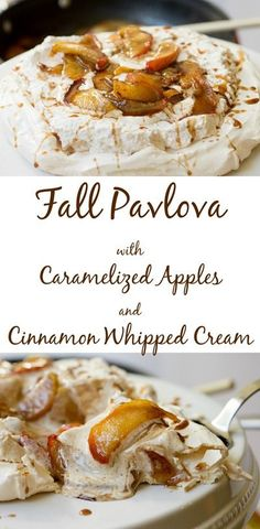 A special Thanksgiving dessert that happens to be gluten-free. This fall inspired pavlova is layered with cinnamon whipped cream and caramelized apples. Meringue Desserts, Köstliche Desserts, Delicious Desserts, Dessert Recipes, Yummy Food, Plated Desserts, Meringue Food, Sweet Desserts, Apple Recipes