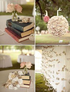 Ideias para decoraar seu casamento com livros e folhas.