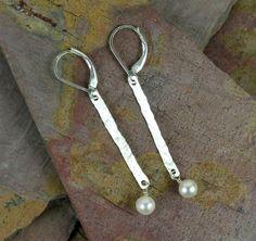 Hammered Bar & Pearl Earrings.  #Jewelry #Earrings #Necklace #Bracelet #Bangle #rings #Silver #Sterling #Gems #Jewels #Quartz #Rubies #Garnet #Amethyst #Turquoise #Swarovski #Tourmaline #Rubilite #Wirewrap #Handtied  www.cariboudenver.com