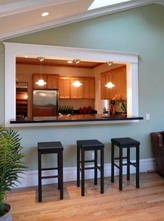Kitchen Pass Through Window Design Ideas, Pictures, Remodel, and Decor - page 3 Half Wall Kitchen, Kitchen Pass, Living Room Kitchen, Dining Room, Kitchen Ideas, Kitchen Small, Small Dining, Kitchen Colors, Kitchen Decor