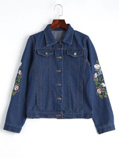 AD : Button Up Floral Embroidered Denim Jacket - DEEP BLUE     Clothes Type: Jackets   Material: Polyester   Material Type: Denim   Type: Wide-waisted   Shirt Length: Regular   Sleeves Length: Full   Collar: Shirt Collar   Pattern Type: Floral   Decoration: Embroidery   Style: Casual   Weight: 0.6300kg   Package: 1 x Jacket