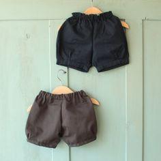 Gathered shorts Navy blue taupe baby shorts baby by MangeToutBaby, £22.00