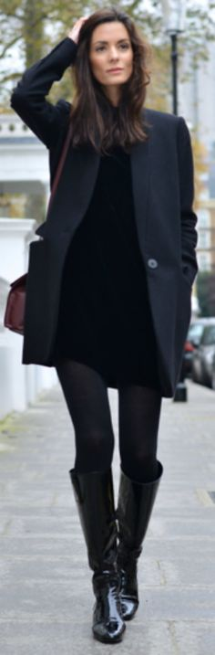 Hedvig Sagfjord Opshaug + little black velvet dress + fall + tights + boots + chic black coat.  Dress: Cos, Boots: Saint Laurent, Coat: Stella McCartney, Tights: Falk, Bag: Balenciaga, Earrings: Annelise Michelson