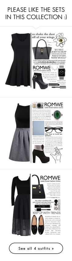 """""""PLEASE LIKE THE SETS IN THIS COLLECTION :)"""" by yesanastasia1919 ❤ liked on Polyvore featuring Bobbi Brown Cosmetics, David Yurman, black, romwe, blackboots, blackdress, blackoutfit, Sole Society, Miss Selfridge and Erdem"""