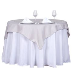 """54"""" Silver Square Polyester Table Overlay Flower Table Decorations, Silver Wedding Decorations, Wedding Themes, Reception Table, Wedding Table, Party Tables, Party Wedding, Wedding Reception, Banquet Tables"""