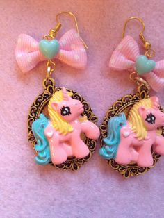 My Little Pony Baby Pink Gold Setting Bow Earrings by zefora, $14.00