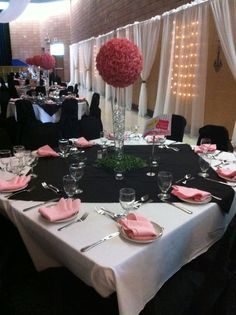 Paris theme | Black, White and Pink | Table Arrangement | Chair Covers & Flower Ball Rental: @Amanda Mahairas
