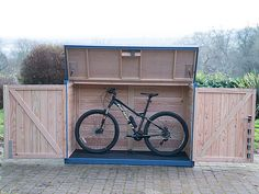 The Bike Shed Company: Pedalbase 3 solid timber bike shed 1 of 7 Outdoor Bike Storage, Bicycle Storage, Patio Storage, Bin Storage, Cycle Store, Range Velo, Wooden Bicycle, Bike Shed, Bike Store