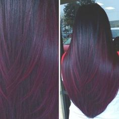 Deep, Wine-Colored Balayage - All For Hair Color Trending Red Hair Color, Hair Color Balayage, Cool Hair Color, Hair Highlights, Plum Hair Colors, Black And Burgundy Hair, Red Velvet Hair Color, Hair Color Ideas For Dark Hair, Hair Ideas For Brunettes