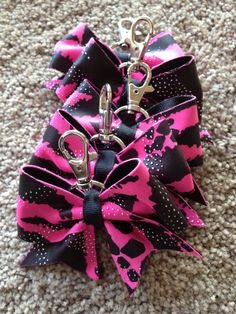 Pink Reptile Cheer Bow Keychain by FlippinBows on Etsy, $7.00