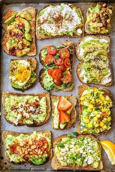 11 Easy Ways to Fancy Up Your Avocado Toast 11 EASY and SIMPLE ways to fancy up your healthy breakfast of avocado toast. Try every recipe! 11 EASY and SIMPLE ways to fancy up your healthy breakfast of avocado toast. Try every recipe! Lunch Snacks, Healthy Snacks, Healthy Eating, Healthy Breakfasts, Office Snacks, Nutritious Breakfast, Easy Snacks, Vegetarian Breakfast, Healthy Fats