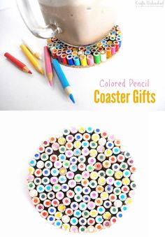 76 Crafts To Make and Sell - Easy DIY Ideas for Cheap Things To Sell on Etsy, Online and for Craft Fairs. Make Money with These Homemade Crafts for Teens, Kids, Christmas, Summer, Mother's Day Gifts. | Colored Pencil Coasters | diyjoy.com/crafts-to-make-and-sell