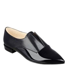 """Menswear inspired slip-on loafer with an elegantly pointed toe updates the classic loafer for the upcoming season. (He should be so lucky.) Leather or man-made upper. Man-made lining and 1/4"""" sole. Padded insole. Imported. 1/2"""" low heels."""