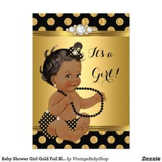 Baby Shower Girl Gold Foil Black Pearls Ethnic 5x7 Paper Invitation Card