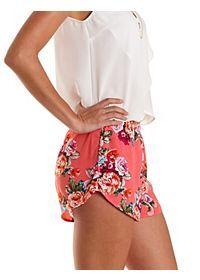 Flowy Floral Print High-Waisted Shorts