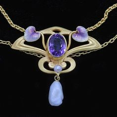 An Art Nouveau gold, enamel, pearl & amethyst Krementz pendant Bijoux Art Nouveau, Art Nouveau Jewelry, Jewelry Art, Antique Jewelry, Gold Jewelry, Vintage Jewelry, Fine Jewelry, Jewelry Design, Antique Art