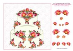 8 x 8 Peach Roses Wedding Cake Decoupage Card Topper on Craftsuprint designed by Elaine Sheldrake - This beautiful wedding cake is sure to please decorated with gorgeous peach coloured roses. Perfect for a quick card front, or if you have more time it will look stunning if you decoupage it. - Now available for download!