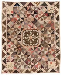Old Quilts, Antique Quilts, Vintage Quilts, Neutral Quilt, Primitive Quilts, Half Square Triangle Quilts, Civil War Quilts, Medallion Quilt, Quilt Stitching