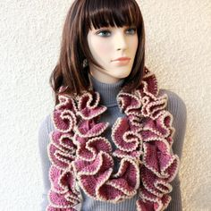 Crochet Scarf PATTERN Ruffle Scarf Pattern Unique Scarf DIY