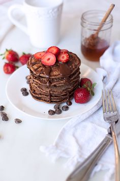 Chocolate Protein Pancakes – A Happy Healthy Heart Healthy Heart, Happy Healthy, Chocolate Protein Pancakes, Cacao Beans, Rice Flour, Panna Cotta, Waffles, Almond, Vegetarian