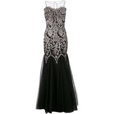 Badgley Mischka caviar sequined dress (£460) ❤ liked on Polyvore featuring dresses, gowns, long dress, black, vestidos, skater skirt, floral skater skirt, sequin dress, black evening dresses e badgley mischka gown