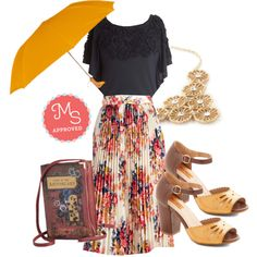 In this outfit: Out of This Whirl Skirt, Moonlit Garden Top, Duck Duck Umbrella in Yellow, Lovely Lunch Date Heel in Honey, Glistening Garden Necklace, Elusive Edition Bag #skirt #umbrella #floral #clutch