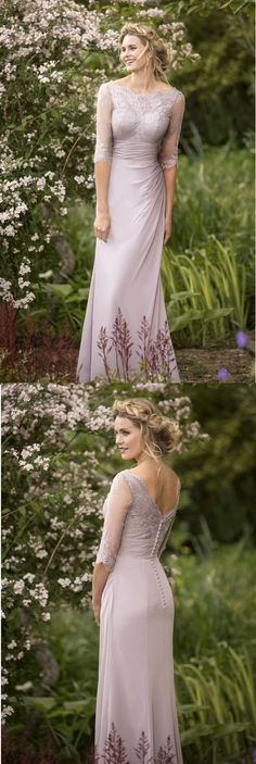 3/4 Sleeved Illusion Neck Sheath Pale Lilac Purple Long Chiffon Bridesmaid Dress