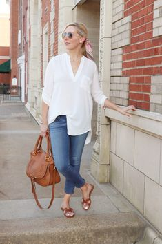 -- tunic outfit -- simple white tunic outfit -- white tunic outfit -- summer neutral outfit -- hermes slides -- running errands outfit -- comfortable classy outfit -- over 40 outfit -- hair scarf -- hair scarf outfit -- hair scarf simple outfit -- #tiffaniatbretonbay