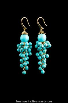 Turquoise Cluster Earrings - Interesting variation on cluster earrings...cluster falls below bead capped round. Charming!