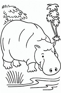 Hippo color page, animal coloring pages, color plate