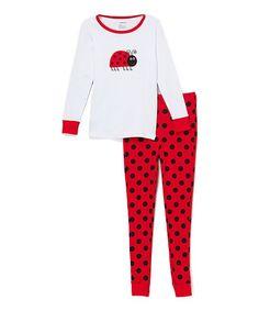 Red & White Ladybug Pajama Set - Toddler & Girls