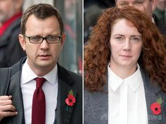 英日曜大衆紙「ニューズ・オブ・ザ・ワールド(News of the World)」(廃刊)の盗聴事件の審理のためロンドン(London)の中央刑事裁判所(Old Bailey)に来たアンディ・コールソン(Andy Coulson)被告(左)と、レベッカ・ブルックス(Rebekah Brooks)被告(いずれも2013年10月31日撮影、資料写真)。(c)AFP/LEON NEAL ▼25Jun2014AFP|英大衆紙盗聴事件、政府の前報道局長に有罪 首相が陳謝 http://www.afpbb.com/articles/-/3018691 #Andy_Coulson #Rebekah_Brooks