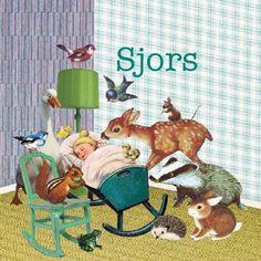 Retro vintage Geboortekaartje Sjors- Alle dieren uit het  bos zijn samengekomen om dit kindje te bewonderen - Petit Konijn