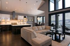 Contemporary Living Room Design with Corner Sofa and Kitchen Area Living Room