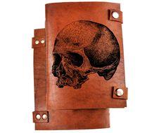Skull journal - skull notebook - leather skull journal - leather notebook with…