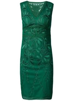 "I like: the deep green of this dress, and the beautiful embroidery that's a subtle but fantastic contrast to the plain silhouette.    I do not like: the width of the part that goes over the shoulders. I have wide shoulders so on sleeveless pieces those shoulder strap pieces need to be either 3"" or go all the way in the other direction to cap sleeves. Stuff with sleeves of this width makes me look like a square."