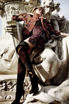 New Boheme: Paulina Heiler by Tina Luther for Elle Germany September 2015 - Burberry Fall 2015